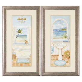 2 Piece Coastal Bath Framed Print Set