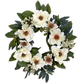 Faux Magnolia Wreath