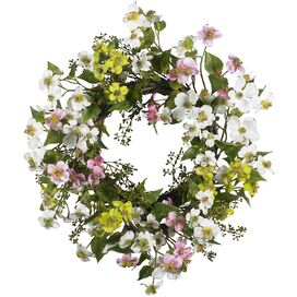 Faux Dogwood Wreath