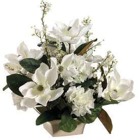 Faux Magnolia & Gypsophila Arrangement