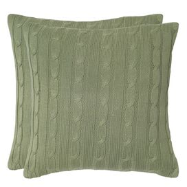 Nadine Cable Knit Pillow in Sage