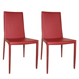 Moe's Home Collection Lusso Side Chair in Red