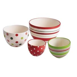 4 Piece Holiday Dots Prep Bowl Set