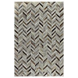 Amador Leather Rug in Gray