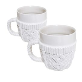 Sweater Mug in White - Set of 2