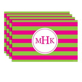 Arcadia Monogram Placemat in Hot Pink