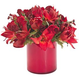 Faux Amaryllis & Berry Arrangement