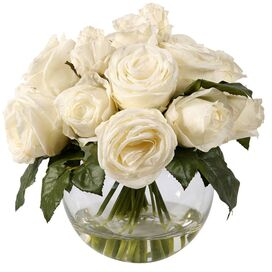 Faux Rose Arrangement II in White