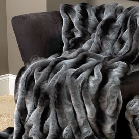 Faux Chinchilla Throw in Gray