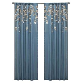Flower Drop Curtain Panel in Blue