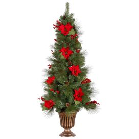 5' Pre-Lit Faux Mixed Pine Tree with Poinsettias & Pot
