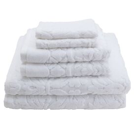 6 Piece Baroque Towel Set in White