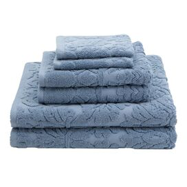 6 Piece Baroque Towel Set in Dusky Blue