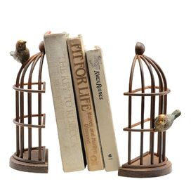 2 Piece Bird House Bookend Set
