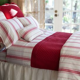 Minotte Stripe Duvet Cover in Raspberry