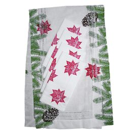 5 Piece Poinsettia Table Linen Set
