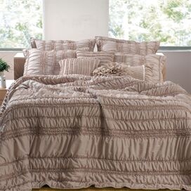 Tiana Ruched Bonus Quilt Set in Taupe