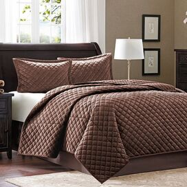 3-Piece Cristina Coverlet Set in Chocolate