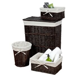 4-Piece Anna Hamper & Storage Basket Set in Walnut