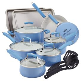 17-Piece Paula Deen Cookware & Bakeware Set in Blueberry