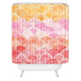 Warm Spectrum Rainbow Shower Curtain