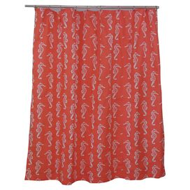 Seahorse Shower Curtain in Salmon