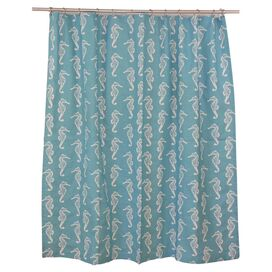 Seahorse Shower Curtain in Coastal Blue