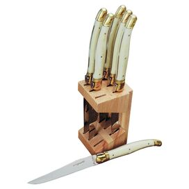 7-Piece Jasmine Knife Block Set in Ivory