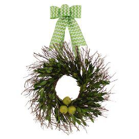 Faux Green Apple Mixed Wreath