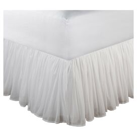 "Cotton Voile 15"" White Bedskirt"
