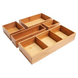 5-Piece Tiana Bamboo Drawer Organizer Set