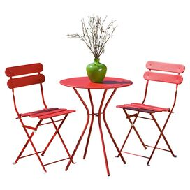 3-Piece Sanibel Indoor/Outdoor Bistro Set in Red