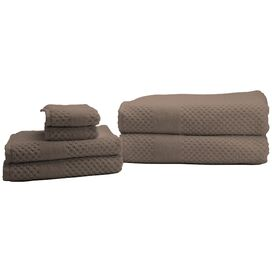 Chortex 6 Piece Honeycomb Towel Set in Flax
