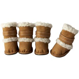 Duggz Shearling Pet Shoes in Brown