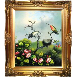 Ruby Throated Hummingbird By Martin Johnson Heade Framed Print