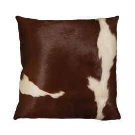 Torino Cowhide Pillow in Brown & White