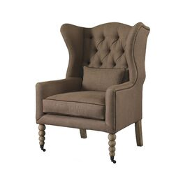 Waverly Tufted Wingback Chair in Mink