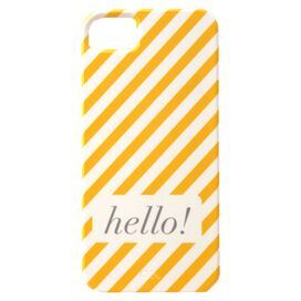 Neapolitan Stripe Hello! iPhone Case in Yellow