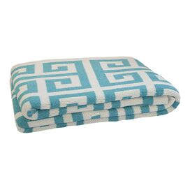 Greek Key Eco Throw in Cerulean