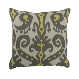 Ikat Pillow in Yellow & Gray
