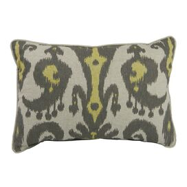 Ikat Lumbar Pillow in Yellow & Gray