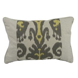 Ikat Lumbar Pillow II in Yellow & Gray