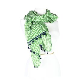 Greek Key Scarf in Green