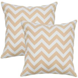 Zig Zag Pillow in Natural & White