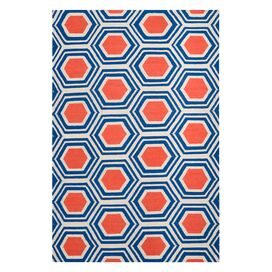Honeycomb Rug in Royal Blue & Coral