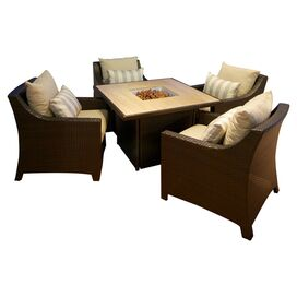 5 Piece Cabo Fire Table Patio Set in Light Grey