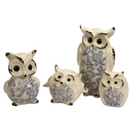 4-Piece Owl Family Statuette Set