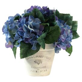 Faux Potted Hydrangea Arrangement I in Purple