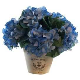 Faux Potted Hydrangea Arrangement I in Blue