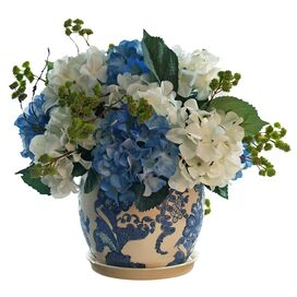 Faux Potted Hydrangea Arrangement VI